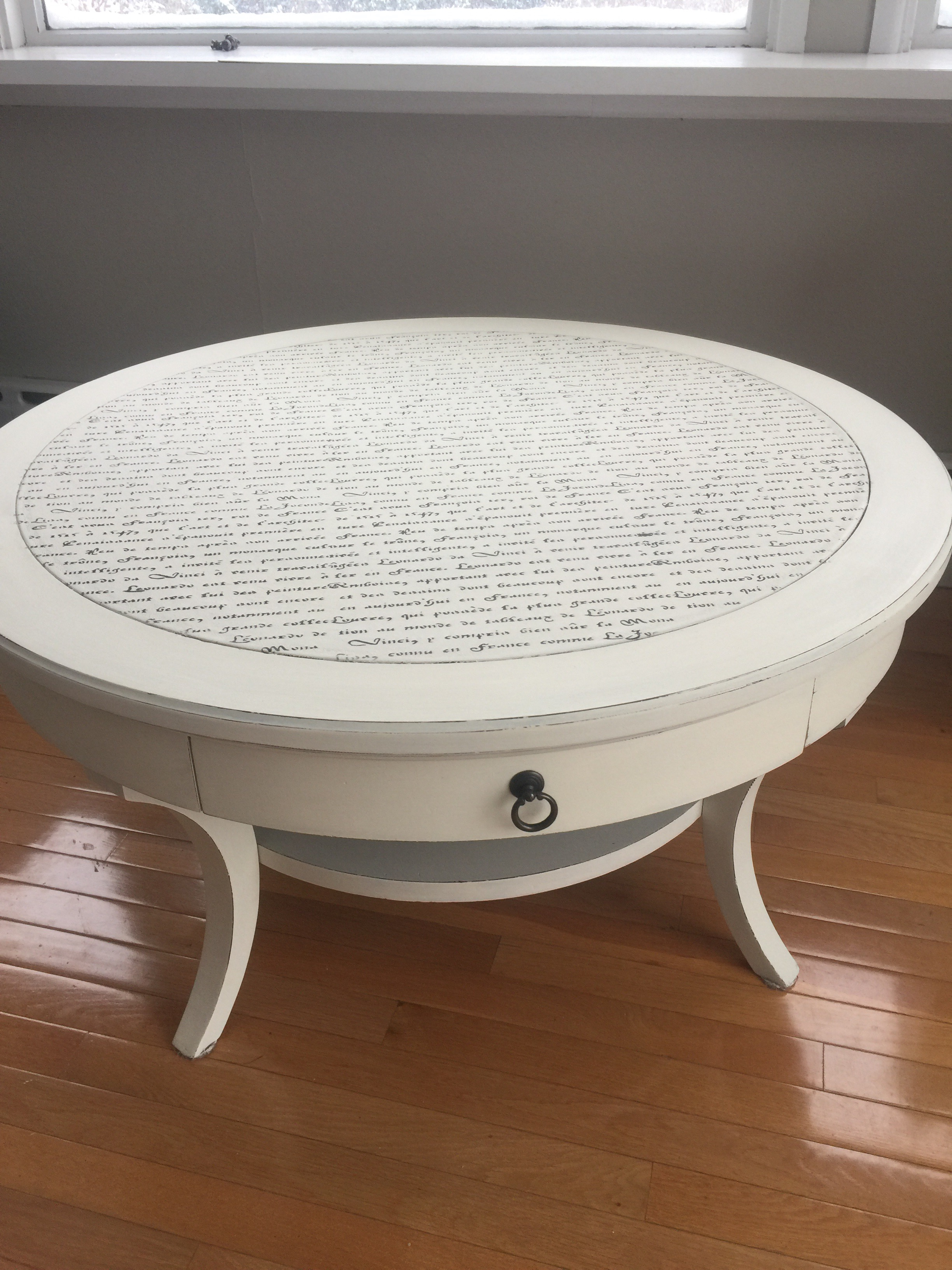 Upcycled French Script Stenciled Coffee Table – wild sparrow designs